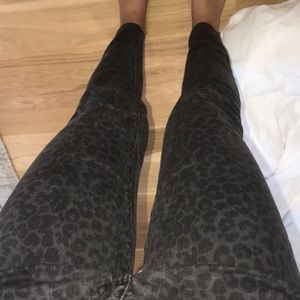 Grey and black cheetah print jeans